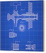 Beer Tap Patent 1876 - Blue Wood Print