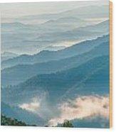 Blue Ridge Parkway Scenic Mountains Overlook Summer Landscape Wood Print