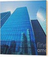Business Skyscrapers Wood Print by Michal Bednarek