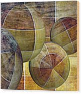 5 By 5 Gold Worlds Wood Print