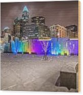 Charlotte Queen City Skyline Near Romare Bearden Park In Winter Snow Wood Print
