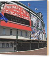 Chicago Cubs - Wrigley Field Wood Print by Frank Romeo