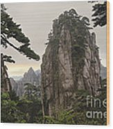 Chinese White Pine On Mt. Huangshan Wood Print