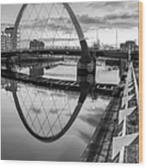 Clyde Arc Squinty Bridge Wood Print by John Farnan