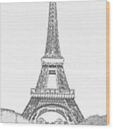 Black Ink On White Of Eiffel Tower  Wood Print
