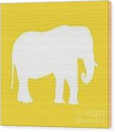 Elephant In Golden And White Wood Print