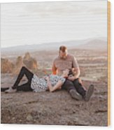 Engaged Couple At Smith Rock In Oregon Wood Print