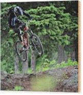 Extreme Biking In Alaska Wood Print