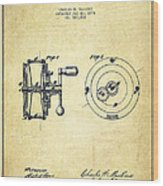 Fishing Reel Patent From 1874 Wood Print