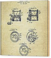 Fishing Reel Patent From 1892 Wood Print