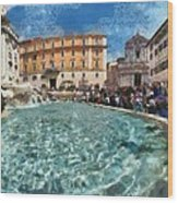 Fontana Di Trevi In Rome Wood Print