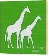 Giraffe In Green And White Wood Print