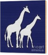 Giraffe In Navy And White Wood Print