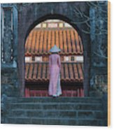 Girl In Ao Dai (traditional Vietnamese Wood Print