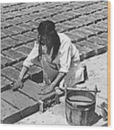 Indians Making Adobe Bricks Wood Print