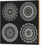 Kaleidoscope Ernst Haeckl Sea Life Series Black And White Set 2  Wood Print