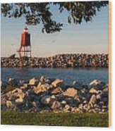 Lighthouse In Lake Michigan Nature Scenary Near Racine Wisconsin Wood Print