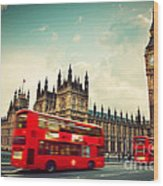 London Uk Red Bus In Motion And Big Ben Wood Print