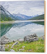 Mountain Lake In Jasper National Park Wood Print
