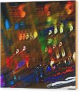 Moving Fast In The Town At Night  Wood Print