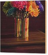 Multicolored Chrysanthemums In Paint Can Wood Print