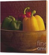 Peppers Still Life Close-up Wood Print