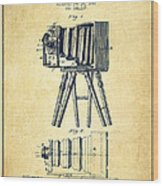 Photographic Camera Patent Drawing From 1885 Wood Print by Aged Pixel