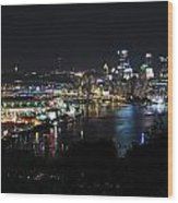 Pittsburgh Skyline At Night Wood Print