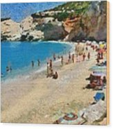 Porto Katsiki Beach In Lefkada Island Wood Print