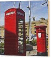 Post Box Phone Box Wood Print