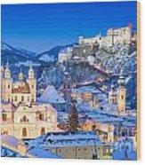 Salzburg In Winter Wood Print