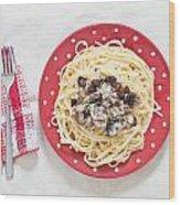 Sardines And Spaghetti Wood Print by Tom Gowanlock