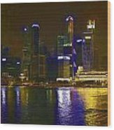 Singapore Skyline As Seen From The Pedestrian Bridge Wood Print