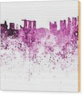 Singapore Skyline In Watercolour On White Background Wood Print