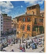 Spanish Steps At Piazza Di Spagna Wood Print