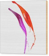 Splashing Of The Color Paint Wood Print