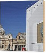 St Peter's Square. Vatican City. Rome. Lazio. Italy. Europe  Wood Print