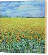 Sunflower Field Under Blue Skies Wood Print