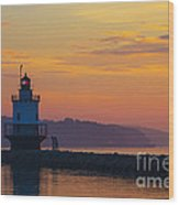 Sunrise At Spring Point Lighthouse Wood Print