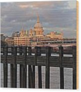 Sunset Over St Pauls Cathedral London Wood Print