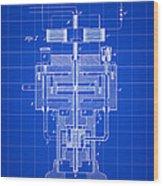 Tesla Electric Generator Patent 1894 - Blue Wood Print