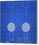 Tesla Electric Transmission Patent 1900 - Blue Wood Print