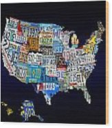 The Usa License Tag Map Wood Print