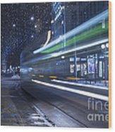 Tram At Night Wood Print