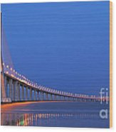 Vasco Da Gama Bridge In Lisbon Wood Print