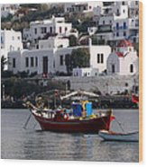 A Boat In The Harbor Of Mykonos Greece Wood Print