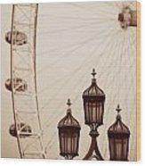 Vintage Lamp Post Wood Print