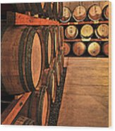 Wine Barrels Wood Print by Elena Elisseeva