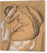 Woman Drying Herself  Wood Print by Edgar Degas