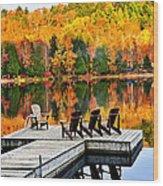 Wooden Dock On Autumn Lake Wood Print